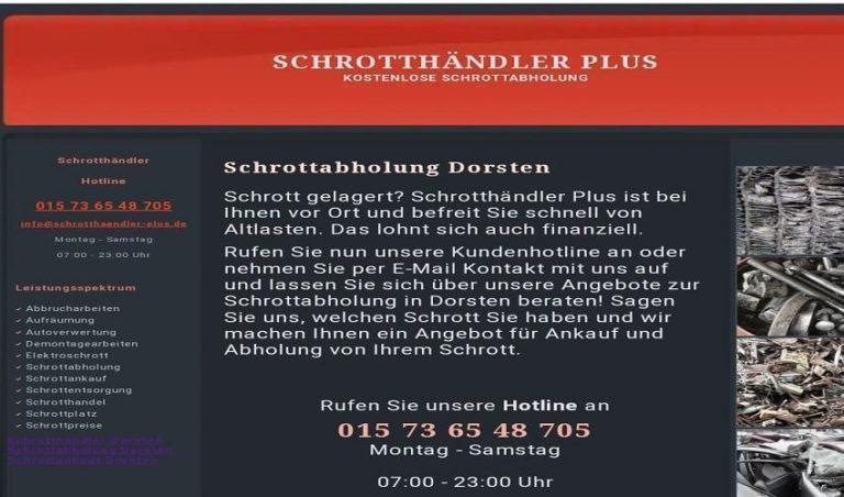 Schrottabholung in Dorsten / Schrott und Altmetall – kostenfreie Abholung
