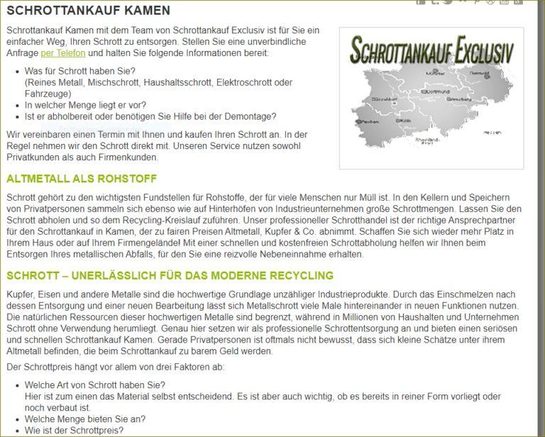 Schrottankauf Kamen – Metalle kostenfrei abholen lassen – für Privat und Gewerbe
