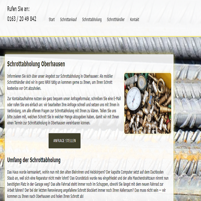 Schrottabholung Oberhausen – Metall als Rohstoff kann sehr gut recycelt werden