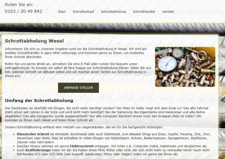 Schrottabholung Wesel – wertvolles Altmetall Verkaufen