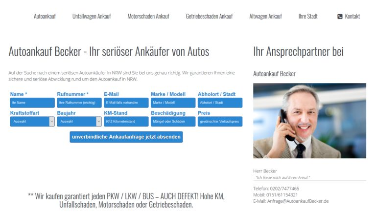 Auto verkaufen bei Autoankauf Becker in Mühlheim an der Ruhr