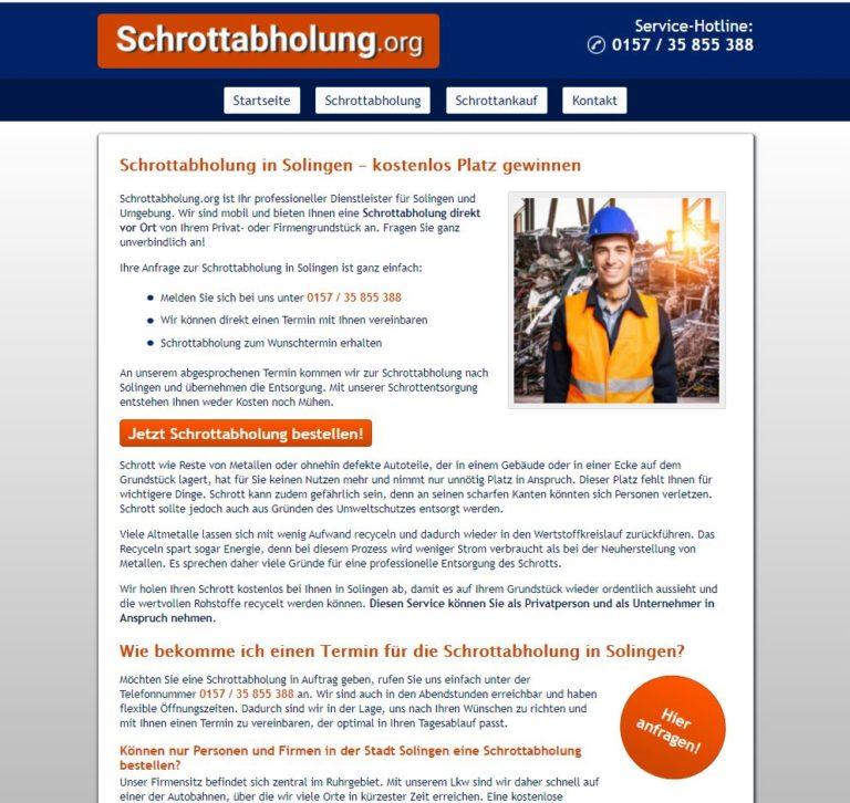 Schrottabholung in Solingen – ordnungsgemäße Entsorgung sichergestellt