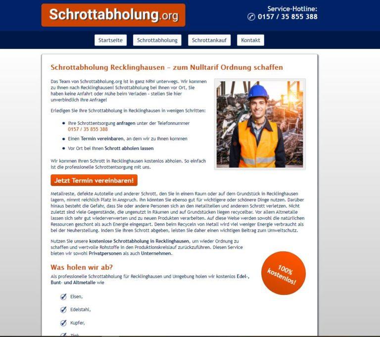 Schrottabholung Recklinghausen ist der Experte