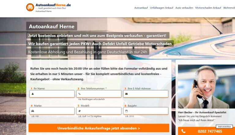 Heute problemlos Autos verkaufen in Herne und Umgebung!