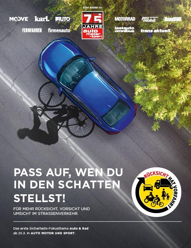 Rücksicht hat Vorfahrt: Zwölf mobile Medienmarken der Motor Presse Stuttgart starten eine übergreifende Kampagne zur Sicherheit im Straßenverkehr