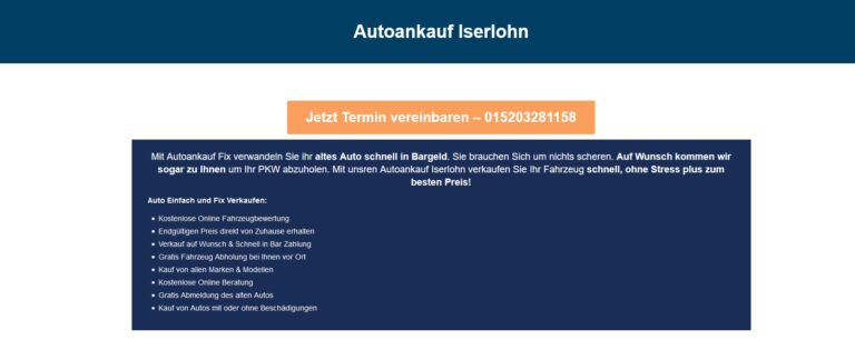 Autoankauf Iserlohn – kauft neben fahrtüchtigen Gebrauchtwagen jeden Alters auch Unfallwagen sowie Gebrauchtwagen mit Getriebeschäden an