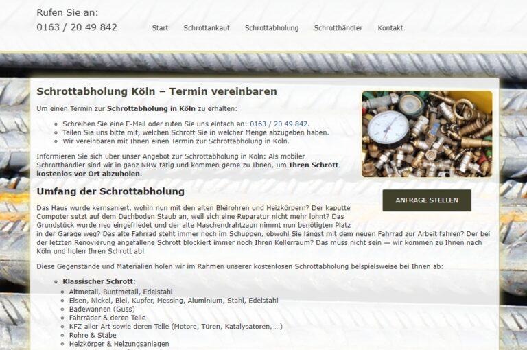 Schrottabholung Köln – Faire Preise werden garantiert und jedem Angebot die tagesaktuellen Kurse zugrunde gelegt