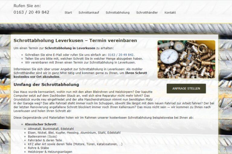 Die Schrottabholung Leverkusen erledigt zuverlässig sämtliche Schrottabholungen und Demontagen und bietet außerdem einen Ankauf