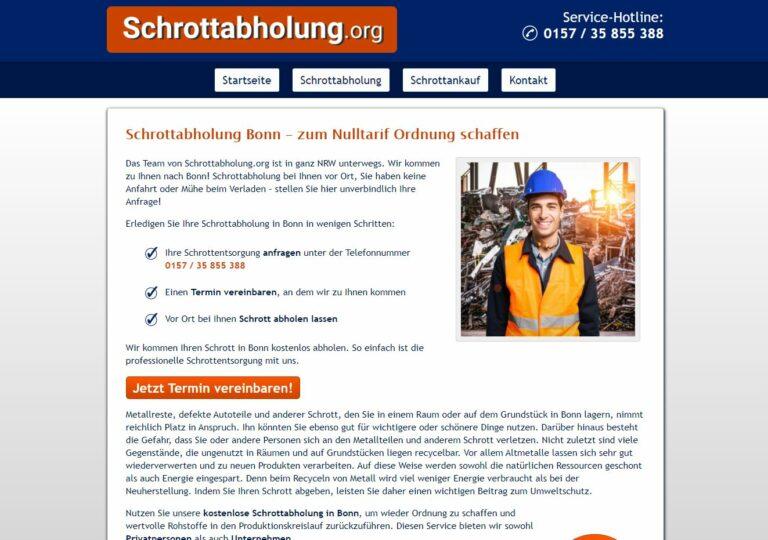 Schrottabholung ist nicht nur in Bonn eine Serviceleistung, der Schrottankauf dagegen eine Vertrauenssache